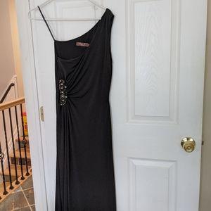 Eliza J Black Long Beaded Formal Dress